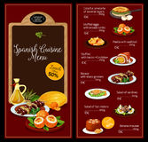 Vector lunch menu template for Spanish cuisine Royalty Free Stock Image
