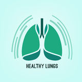 Vector Lungs Icon. Beautiful vector illustration of medical lungs icon. Editable abstract image in light green and emerald colors useful for a poster, icon, logo Stock Image