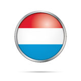Vector Luxembourgish flag Button. Luxembourg flag in glass butto Royalty Free Stock Photography