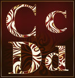 Vector, a luxury alphabet( C, D ). Vector, a luxury alphabet with the gold stains ( C, D ) on a brown background Stock Images