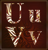 Vector, a luxury alphabet ( U, V ) Royalty Free Stock Image