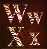 Vector, a luxury alphabet( W, X ). Vector, a luxury alphabet with the gold stains ( W, X ) on a brown background Royalty Free Stock Photography