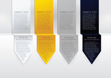 Vector luxury arrow labels. Paper, gold, silver and black velvet Royalty Free Stock Photo