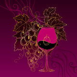Vector luxury card with bunch of grape, grape leaves, wineglass and dotted curls on the vinous background. Stock Photos