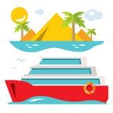 Vector Luxury Cruise Ship. Flat style colorful Cartoon illustration. Stock Photos