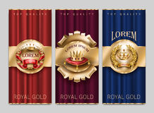 Vector luxury decorative banners with gold crowns Stock Images