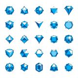 Vector luxury faceted decorative elements. Set of low poly objec. Ts with connected lines and dots, 3d geometric wireframe shapes for use corporate development stock illustration