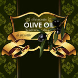 Vector luxury golden decorative design with olive Stock Photo