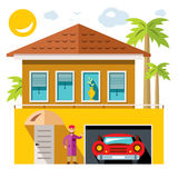 Vector Luxury House. Flat style colorful Cartoon illustration. Stock Photo