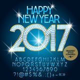 Vector luxury light up Happy New Year 2017 greeting card Royalty Free Stock Photo