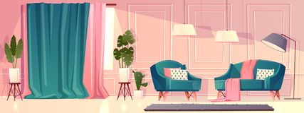 Vector luxury living room in pink color stock illustration