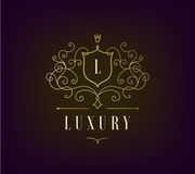 Vector Luxury Logo template flourishes with calligraphic elegant ornament lines. stock illustration
