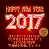 Vector luxury neon Happy New Year 2017 greeting card. With set of letters, symbols and numbers. File contains graphic styles Royalty Free Stock Image