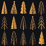 Vector Luxury rich decorative golden Christmas trees on dark blue background Royalty Free Stock Photo