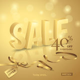 Vector luxury sale banner with 3d text, ribbon, small bow and tag. Gold background with lights for design promotional flyers with discounts offers Royalty Free Stock Photography