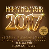 Vector luxury wood Happy New Year 2017 greeting card. Vector wood Happy New Year 2017 greeting card with set of letters, symbols and numbers. File contains Royalty Free Stock Image
