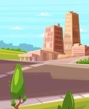 Vector a luz do sol bonita sobre a cidade dos desenhos animados com estrada Fotos de Stock