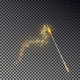 Vector mágico de la vara Palillo transparente del milagro con la cola de la luz ámbar del resplandor aislada en fondo oscuro ilustración del vector