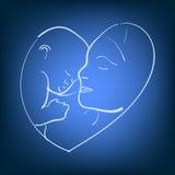 Vector a mãe do esboço da ilustração com um bebê pequeno Mamã do logotipo e bebê recém-nascido em um fundo isolado Linha desenhad Imagem de Stock Royalty Free