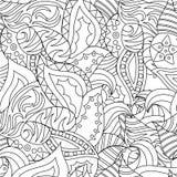 Vector mão abstrata sem emenda o teste padrão tirado com plantas ilustração royalty free