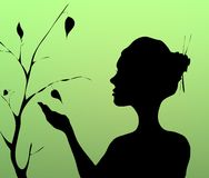 Mão da mulher que guardara e que planta a árvore com pássaro Fotografia de Stock