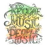 Vector mão imprimível a reggae tirada que lettring no fundo da aquarela Pode ser imprimido na caneca, descanso, t-shirt Fotografia de Stock Royalty Free