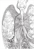 vector Mädchenengel, dessen Flügel die Stadt reflektierten Stockfoto