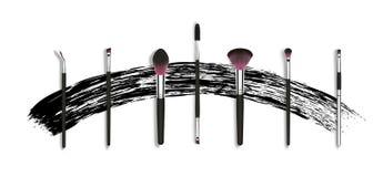 Vector maak omhoog borstels voor mascara en poeder Besignconcept met mascaraslag Realistische kosmetische borstels geplaatst bann stock illustratie