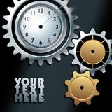 Vector machine gears with clock background Royalty Free Stock Photography