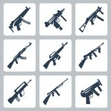 Vector machine guns and assault rifles icons set. Vector  machine guns and assault rifles icons set Stock Images