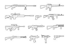 Vector machine guns and pistols line icons set Royalty Free Stock Images