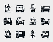 Vector machine tool icons set Stock Image