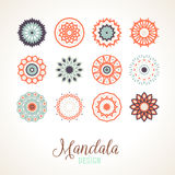 Vector madala, round ornament. Set of 12 vector mandalas. Bright and colorful snowflakes for Christmas decor. Winter unique bold and simple elements. Various Stock Image