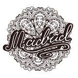 Vector Madrid illustration on mandala background. Retro typography design. Handwritten illustration. Stock Photography