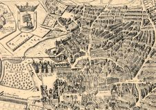 Ancient Madrid city map. Vector from a Madrid map of 1622 Royalty Free Stock Photo