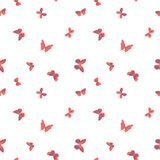 Vector magenta and coral flying butterflies seamless pattern on white background. Vector colorful flying butterflies seamless pattern background. Perfect for royalty free illustration