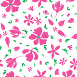 Vector Magenta Flowers Silhouettes Seamless Stock Photo