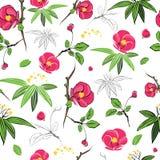 Vector Magenta Green Kimono Flowers Seamless Stock Photo