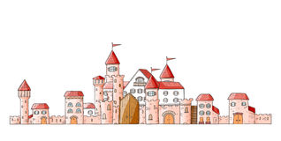 Vector magic cartoon cute medieval castles. Magic cartoon cute medieval castles. Vector illustration Royalty Free Stock Photography