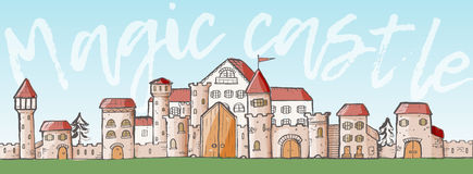 Vector magic cartoon cute medieval castles. Sketch style Royalty Free Stock Image