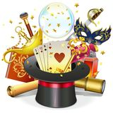 Vector Magic Concept with Hat. Isolated on white background royalty free illustration