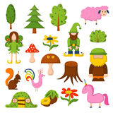 Vector magic forest background. Vector illustration, cartoon children magic forest icons. Fairy tale, fantasy, magic objects. Children vector book cover vector illustration