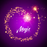 Vector magic glowing background with glitter light particles. Magic background design template.  Royalty Free Stock Images