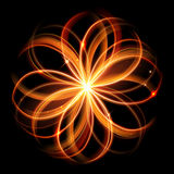 Vector magic glowing light swirl trail. Glitter fire spark wave. Royalty Free Stock Photo