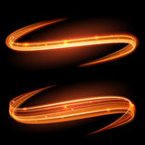 Vector magic glowing light swirl trail. Glitter fire spark wave. Royalty Free Stock Image