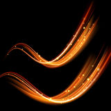 Vector magic glowing spark swirl trail. Bokeh glitter light wave. Royalty Free Stock Photography
