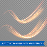 Vector magic glowing spark swirl trail. Bokeh glitter light wave. Royalty Free Stock Photo