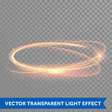 Vector magic gold circle. Glowing fire ring. Glitter sparkle swirl. Royalty Free Stock Images