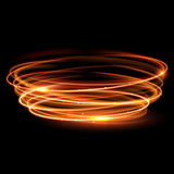 Vector magic gold circle. Glowing fire ring. Glitter sparkle swirl. Royalty Free Stock Image