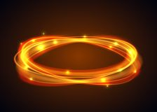 Vector magic gold circle. Glowing fire ring trace on black background. Ellipse line with flying sparkling flash lights. Vector illustration Stock Photos